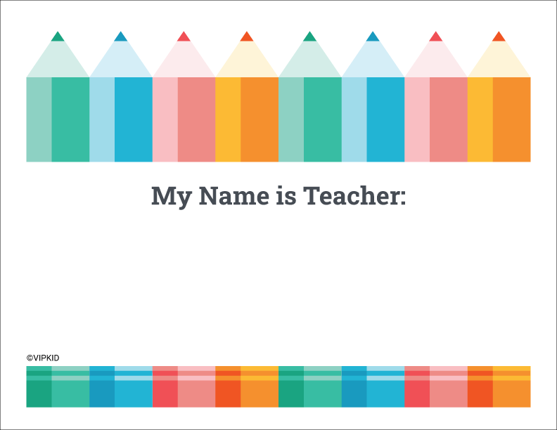 Teacher name sign with colored pencils